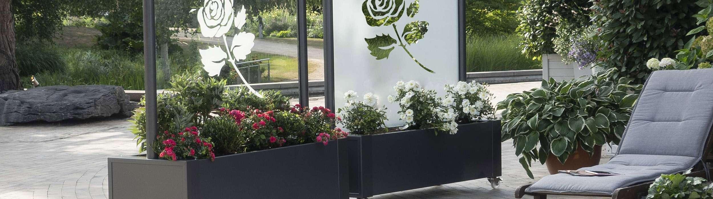 Bepflanzbarer Sichtschutz Terrasse und Balkon aus Glas jetzt bestellen
